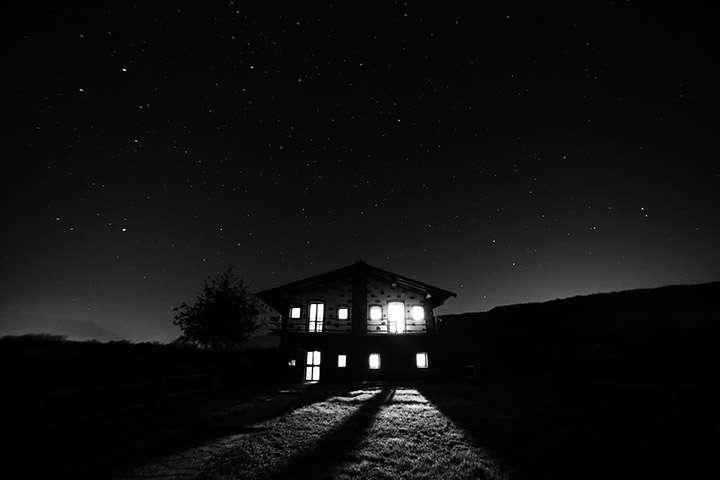 House under stars